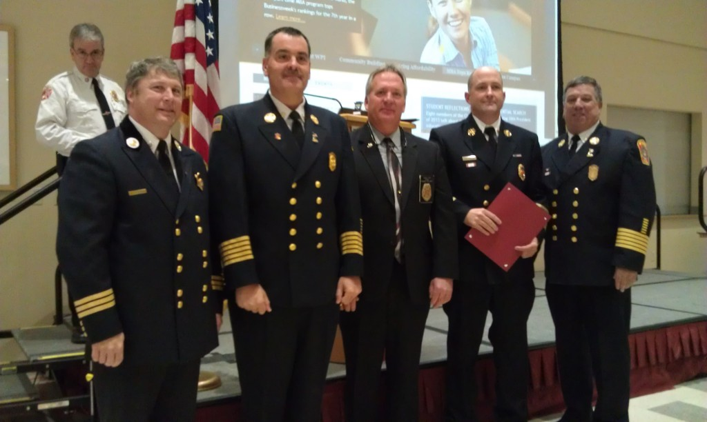Chief Aaron Goodale -Deputy State Fire Marshal Peter Ostroskey, FCAM Presient Chief George Rogers, Fire Service Commission Chief Allan Roy, Chief David Butler, FCAM 2nd VPChief Richard DeLorie -Podium