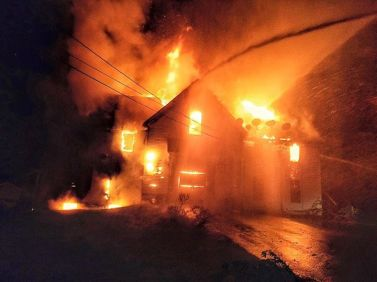 149 Main Street engulfed in flame ~ courtesy of Upton PD