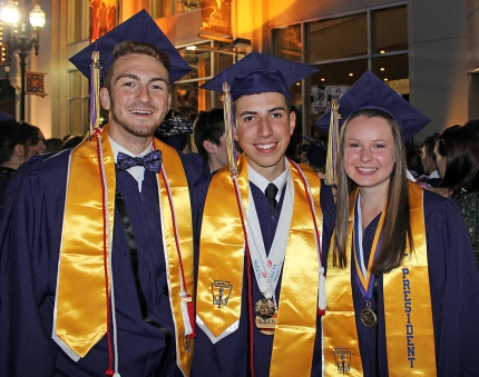 President/Valedictorian Theodore Floyd of Upton, Salutatorian Michael Altavilla of Mendon, and Student Council President Megan Sweeney of Sutton. Theodore, Michael, and Megan graduated from the Electronics & Engineering Technology program.