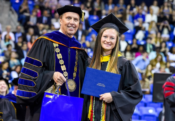 Trinity Scanlon during the Quinnipiac University undergraduate commencement ceremonies Saturday, May 21, 2016, at TD Bank Sports Center. (Photograph by John Hassett Quinnipiac University)
