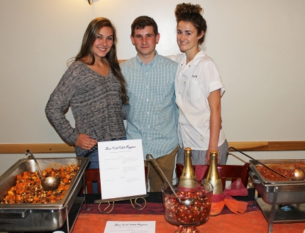The Blue Cold Chili Peppers had a hit on their hands after the crowd sampled their Chipotle Sweet Potato Chili. Seen here are Emily Shorey of Northbridge, Kellen Kearnan of Uxbridge, and Julia Graves of Upton